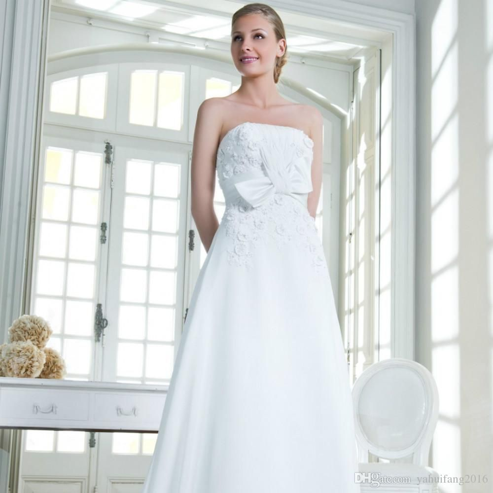 Sexy Backless A-Line Wedding Dress 2015 Vestido De Noiva Button Bow Sashes Flowers Chiffon Court Train Strapless Bridal Gowns A-Line Wedding Dress 2016 Bridal Gowns Custom Made Dress Online with $171.39/Piece on Yahuifang2016's Store   DHgate.com