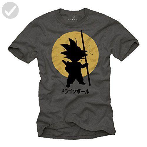 Son Goku T-Shirt for Men - Vegeta Siyan Kame Dragonball Grey Size S - Cool and funny shirts (*Amazon Partner-Link)