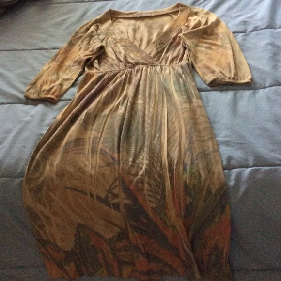 Beautiful Dress Tan dress with floral and peacock detailing. Some on purpose pleats in the pattern. V-neck. Never worn! NWOT. Dresses