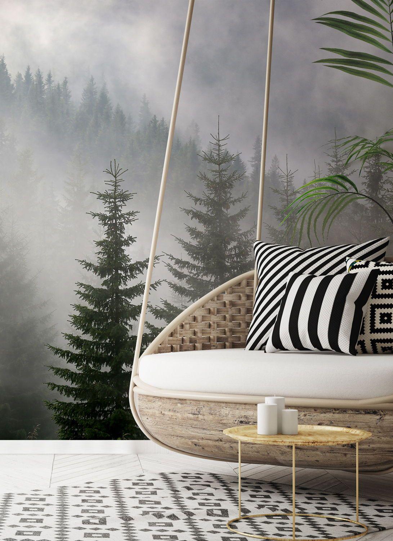 Pine Forest in Mist in 2020 Wall murals, Tree wallpaper