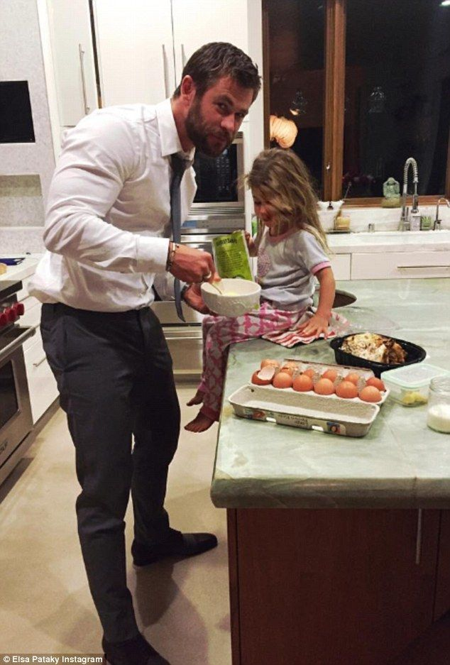Family man: Elsa even proudly shared a shot of the actor returning straight to the kitchen...