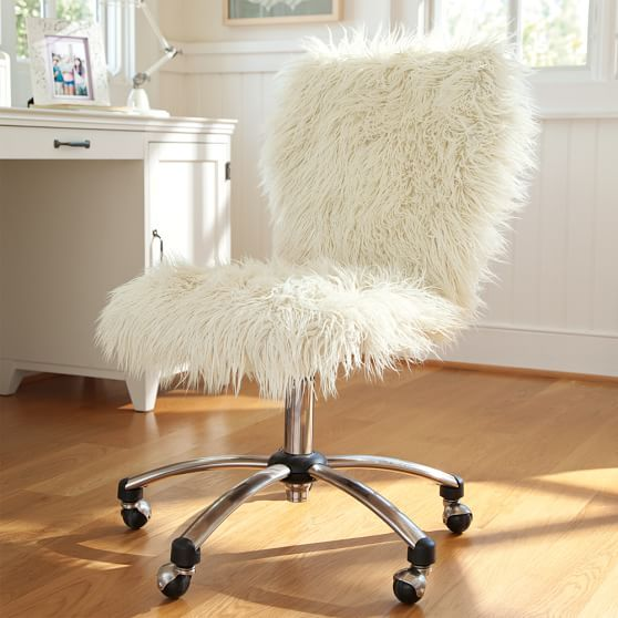 Furlicious 160 Faux Fur 160 Airgo Swivel Desk Chair Desk Chair Makeover Cute Desk Chair Bedroom Chair