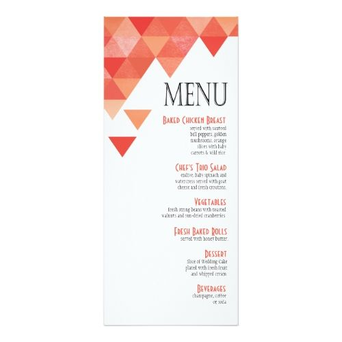 Indian Wedding Reception Food Menu: Geometric Triangles Dinner Menu