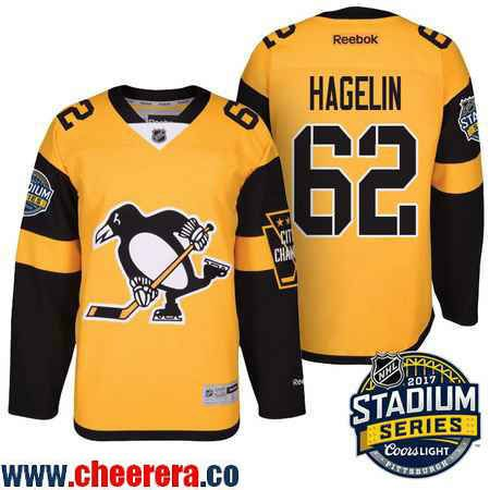 Men's Pittsburgh Penguins #62 Carl Hagelin Yellow Stadium Series 2017 Stanley Cup Finals Patch Stitched NHL Reebok Hockey Jersey