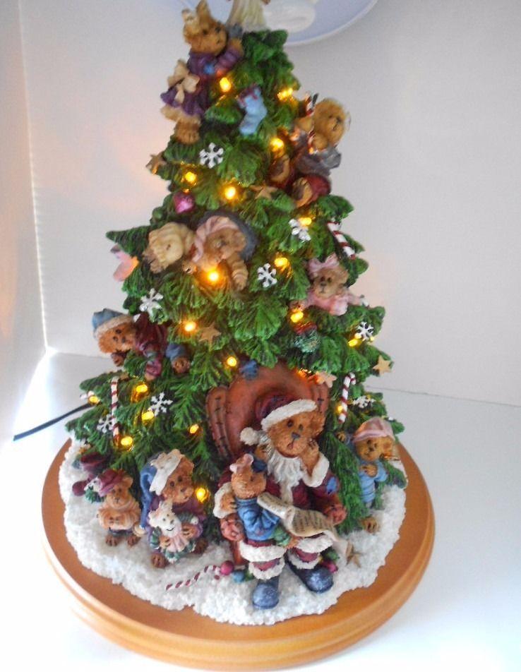boyds bears christmas tree danbury mint collection lights up santa bear train - Bear Christmas Tree