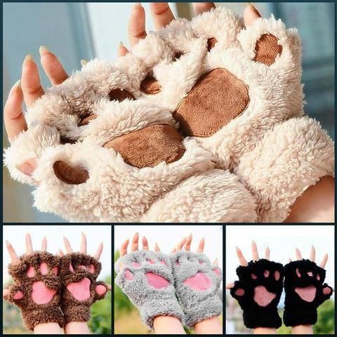 Lovely Cat Plush Paw Gloves