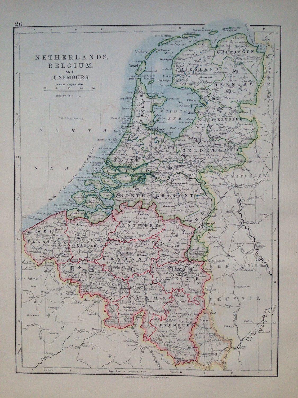 Netherlands Driving Map%0A      NETHERLANDS  BELGIUM  u     LUXEMBURG original antique map  historical   doublesided