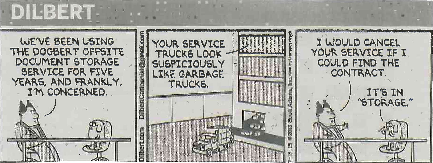 Comic Dilbert On Self Storage Self Storage Budget Storage Document Storage