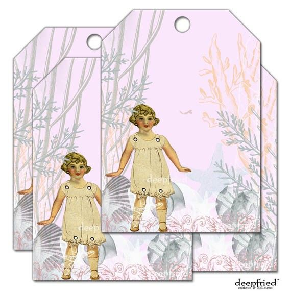 Pink Sea Doll Paperdoll Ocean Playground Gift Tags by deepfried, $5.00