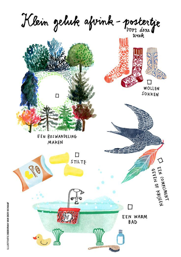 Finding little happiness, in Flow Weekly #42. Illustrations made by Deborah van der Schaaf: