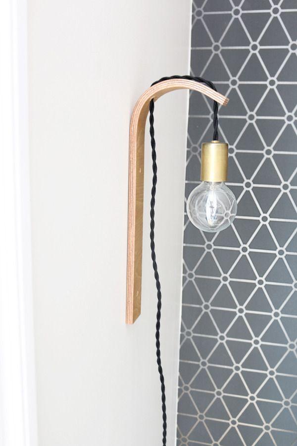 how to make a diy modern bent plywood light fixture pinterest lampe selber basteln lampe. Black Bedroom Furniture Sets. Home Design Ideas