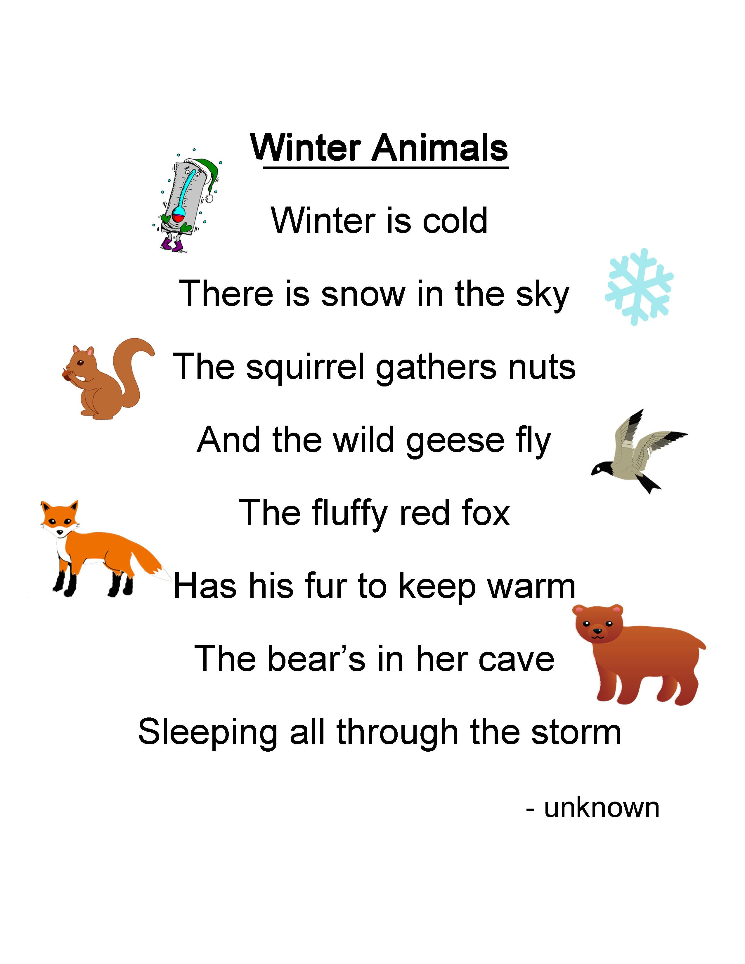 small resolution of Winter Animals Lesson Plan   Kids poems