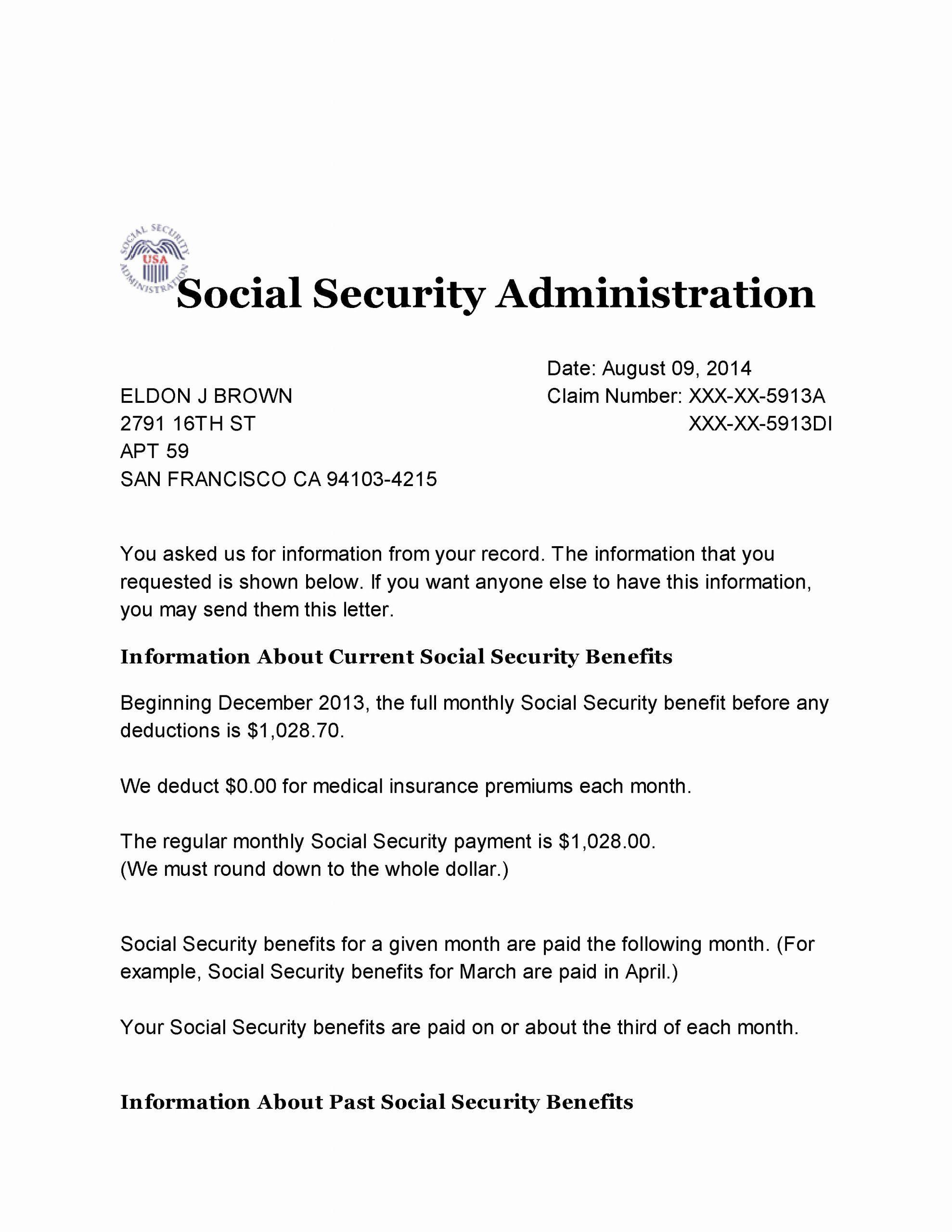 Benefits Verification Letter Inspirational Social Security Benefit Letter Lettering Letter Templates Social Security Benefits