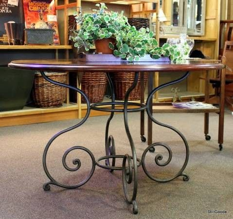 Ethan Allen Round Dining Table W Iron Base 495 With Images