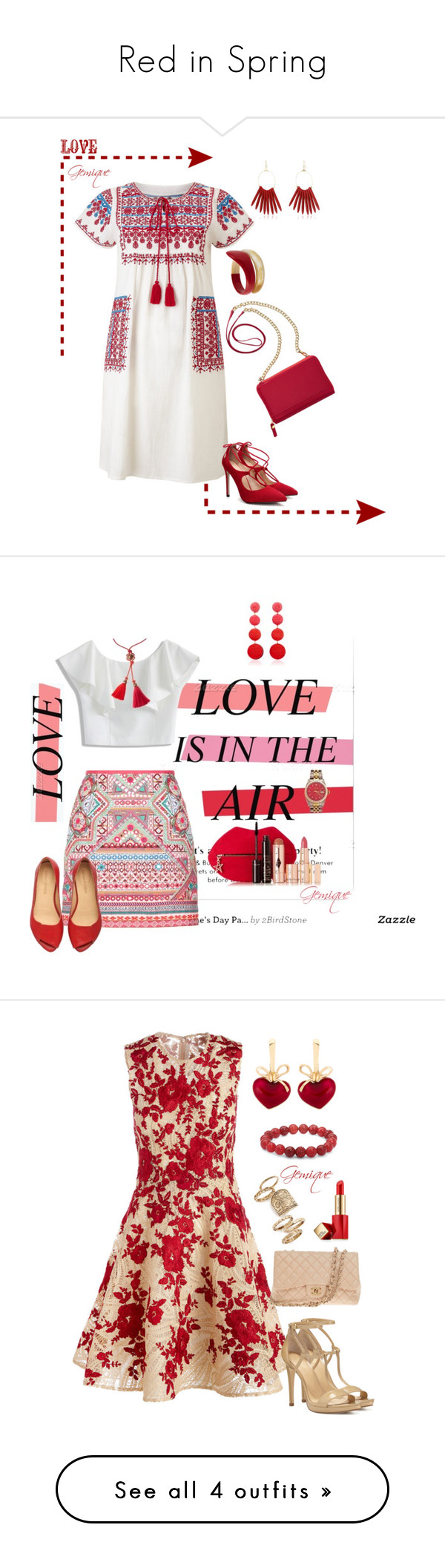 """""""Red in Spring"""" by gemique ❤ liked on Polyvore featuring Star Mela, TravelSmith, Tsumori Chisato, Kenneth Jay Lane, Accessorize, Chicwish, Rebecca de Ravenel, Rolex, Lanvin and Charlotte Tilbury"""