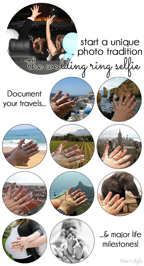 START A UNIQUE PHOTO TRADITION! After almost forgetting to take a photo of our rings at our wedding, we started a new tradition - the wedding ring selfie! We snap photos of our wedding rings everywhere we travel, and even document major milestones with our ring selfie photos.