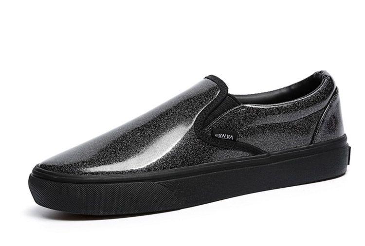 10c4b21b84c Black Vans Slip On Noise Star Light Leather Skateboad Shoes  Vans ...