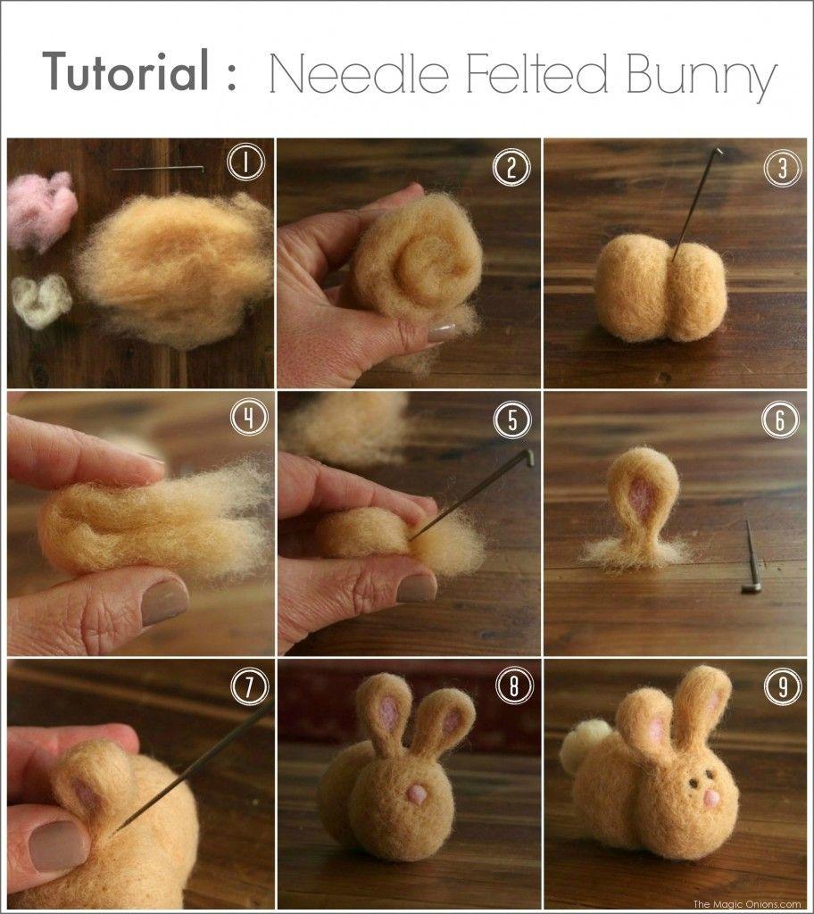 Diy Needle Felted Bunny Tutorial The Magic Onions Needle Felted Bunny Needle Felting Projects Felt Bunny
