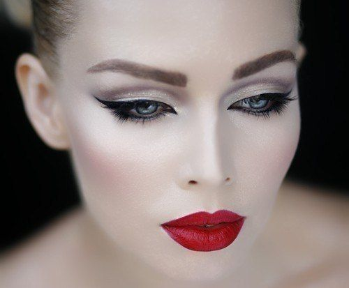 Red lips and silver make up