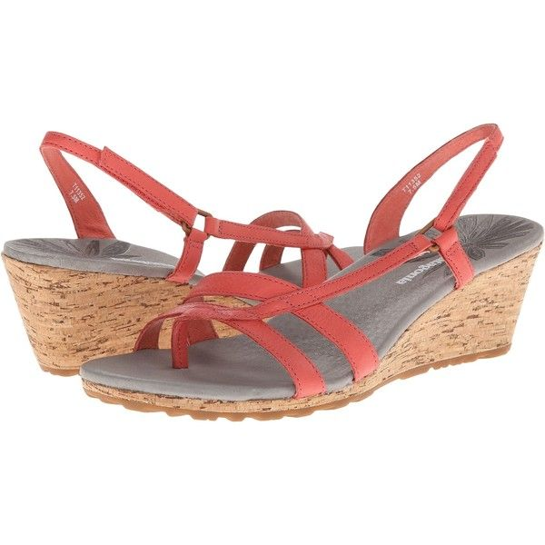 Patagonia Solimar Wedge Sling (Coral) Women's Wedge Shoes (73 NZD) ❤ liked
