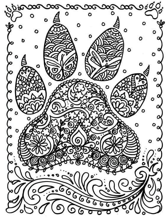 Paw Print Dog Coloring Page Mandala Coloring Pages Animal Coloring Pages