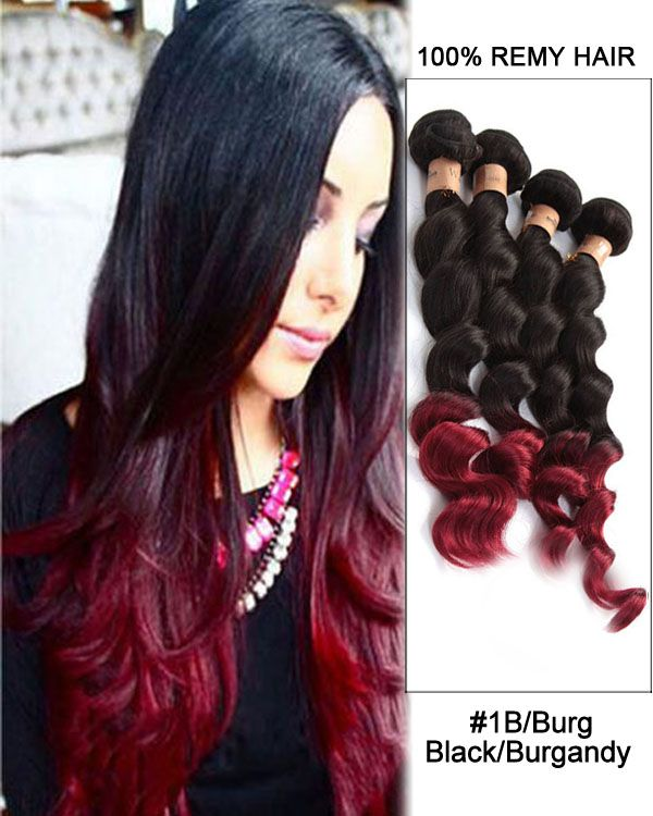20 Loose Wave Black Burgandy Ombre Remy Hair Weave Weft Human Hair