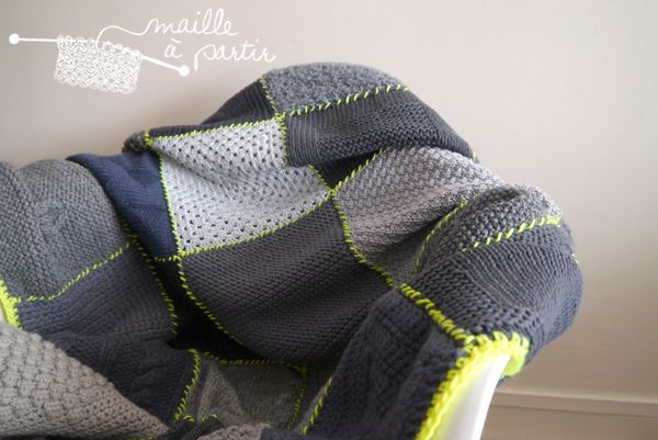 couverture patchwork tricot tuto tricot pinterest knitting crafts and diy. Black Bedroom Furniture Sets. Home Design Ideas