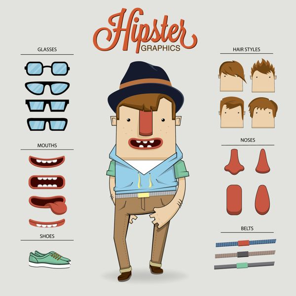 Character Design Elements : Hipster character illustration with elements by