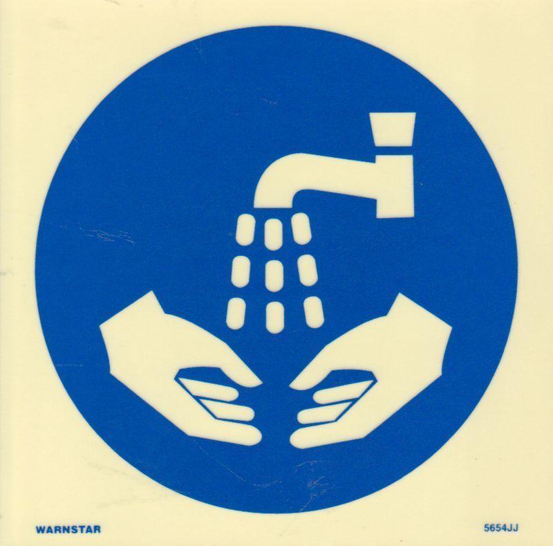 Marine Mandatory Sign: Wash Hands Symbol