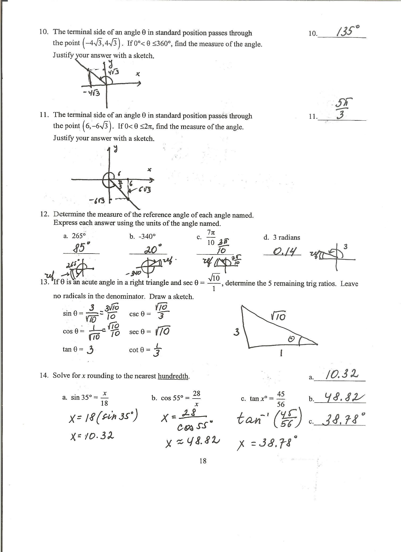 Trigonometric Ratios Worksheet 2 Answers
