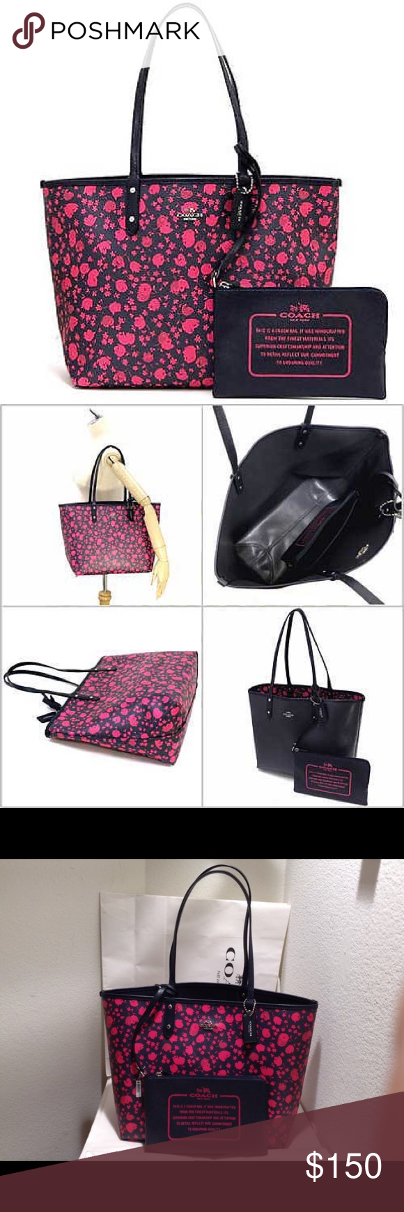 c5f75e8a4 Prairie calico reversible city tote midnight pink Authentic large coach  prairie calico reversible city tote handbag midnight pink/ruby.