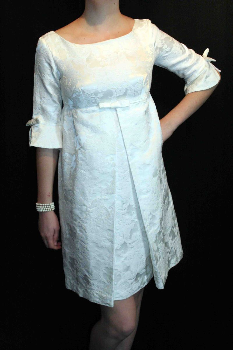 Mini white wedding dress  S WHITE BROCADE EMPIRE VTG s MOD TENT PLEATED BRIDE ALLURE WEDDING