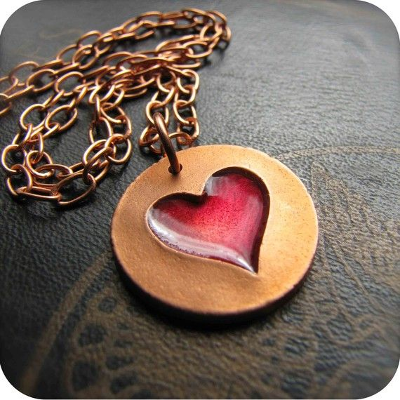 Copper Heart Necklace with Ruby Red Resin by DestinysCreations, $45.00