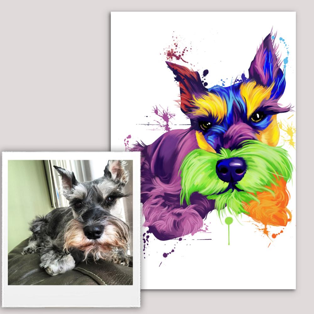 Rainbow Watercolor Custom Pet Canvas Real Pet Art