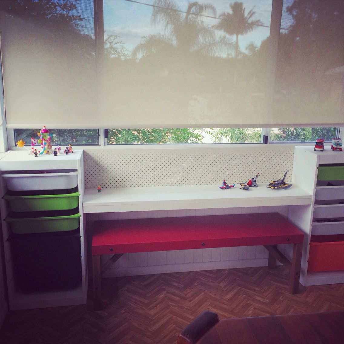 home project ikea trofast and pegboard lego bench painted in pure white chalk paint by