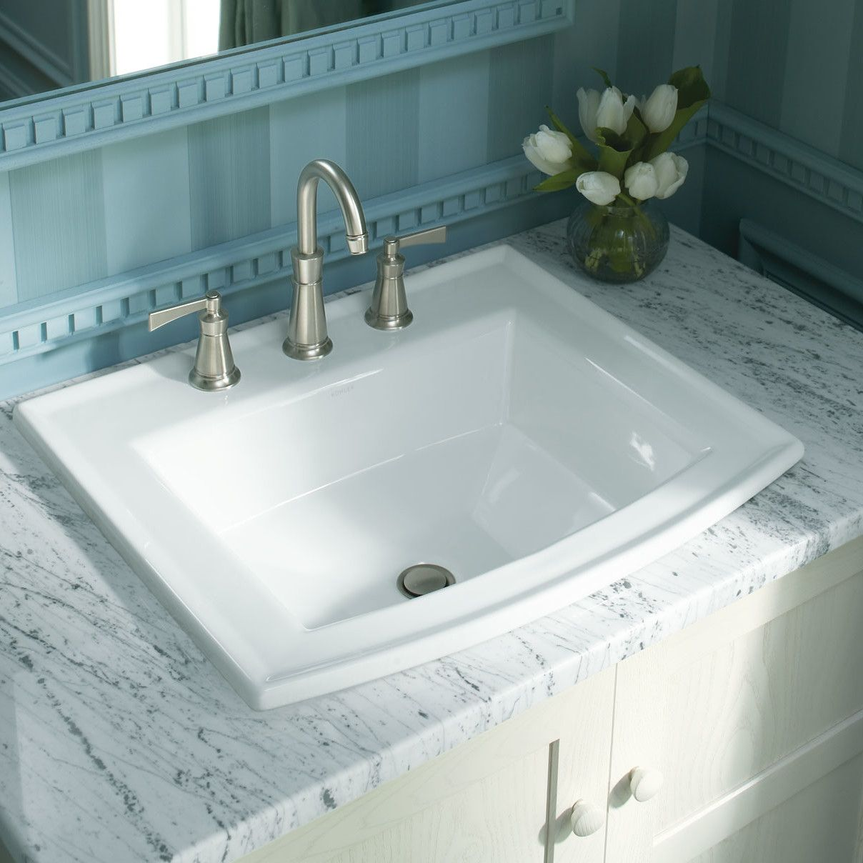 Archer Vitreous China Rectangular Drop In Bathroom Sink With