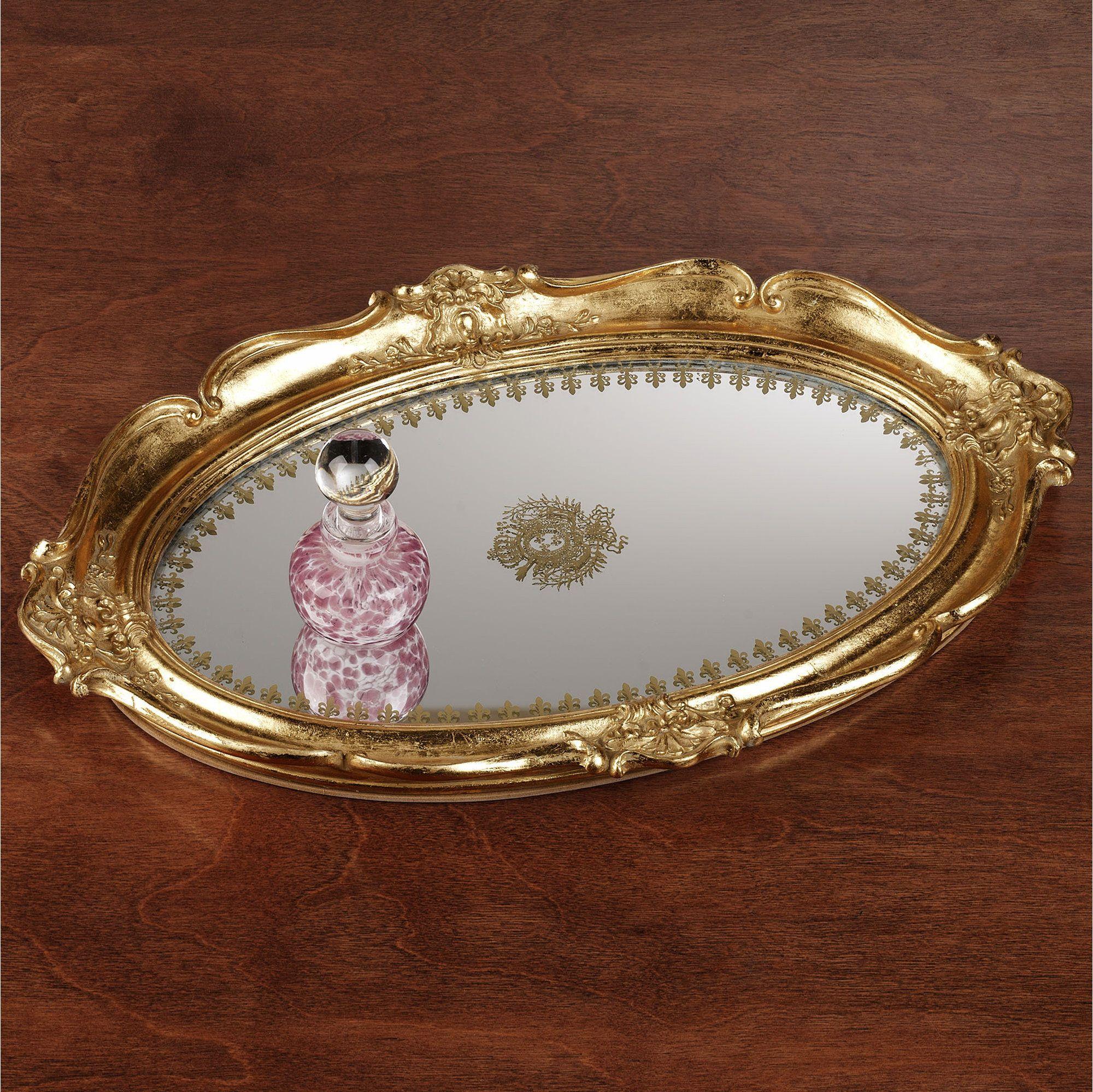 Adina gold scalloped mirrored vanity tray trinket boxes u trays