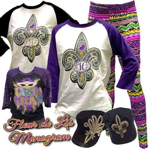 755d389b2680d Mardi Gras in New Orleans Fleur De Lis Monogram Outfit | Louisiana ...