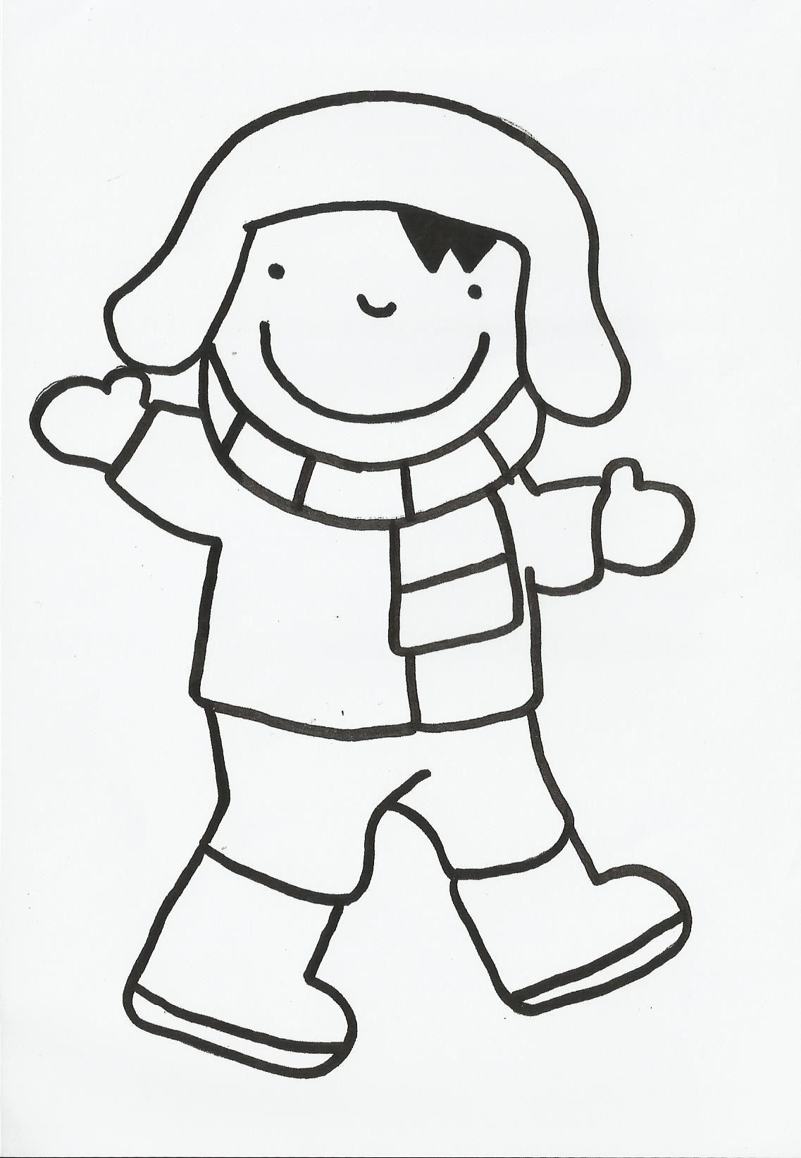 Anna Logiset Trui Gezicht En Broek Inkleuren Muts Sjaal Handschoenen En Laarzen Blijven Wit Winterknutsels Winter Knutselen Thema