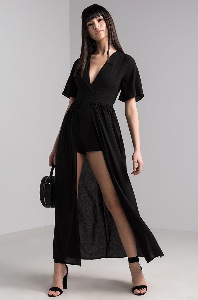 04091c35d851 AKIRA Short Sleeve Backless Maxi Skirt Belted Lightweight Jumpsuit in  Brick