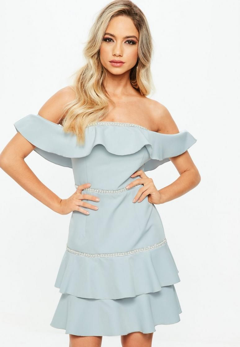 7aa4b40544e Blue Bardot Ruffle Pearl Diamante Swing Dress