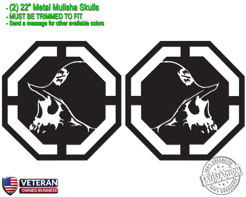 2 metal mulisha skull vinyl decals 22 x 22 motocross window truck bedside