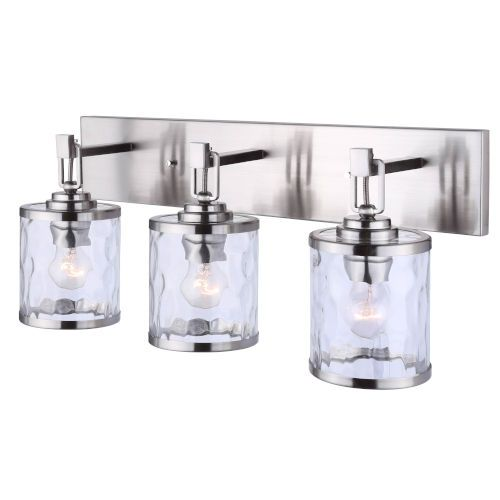 Photo of Canarm IVL677A03BN Cala Three-Light Bath Vanity in Brushed Nickel – Brushed, Transitional   Bellacor