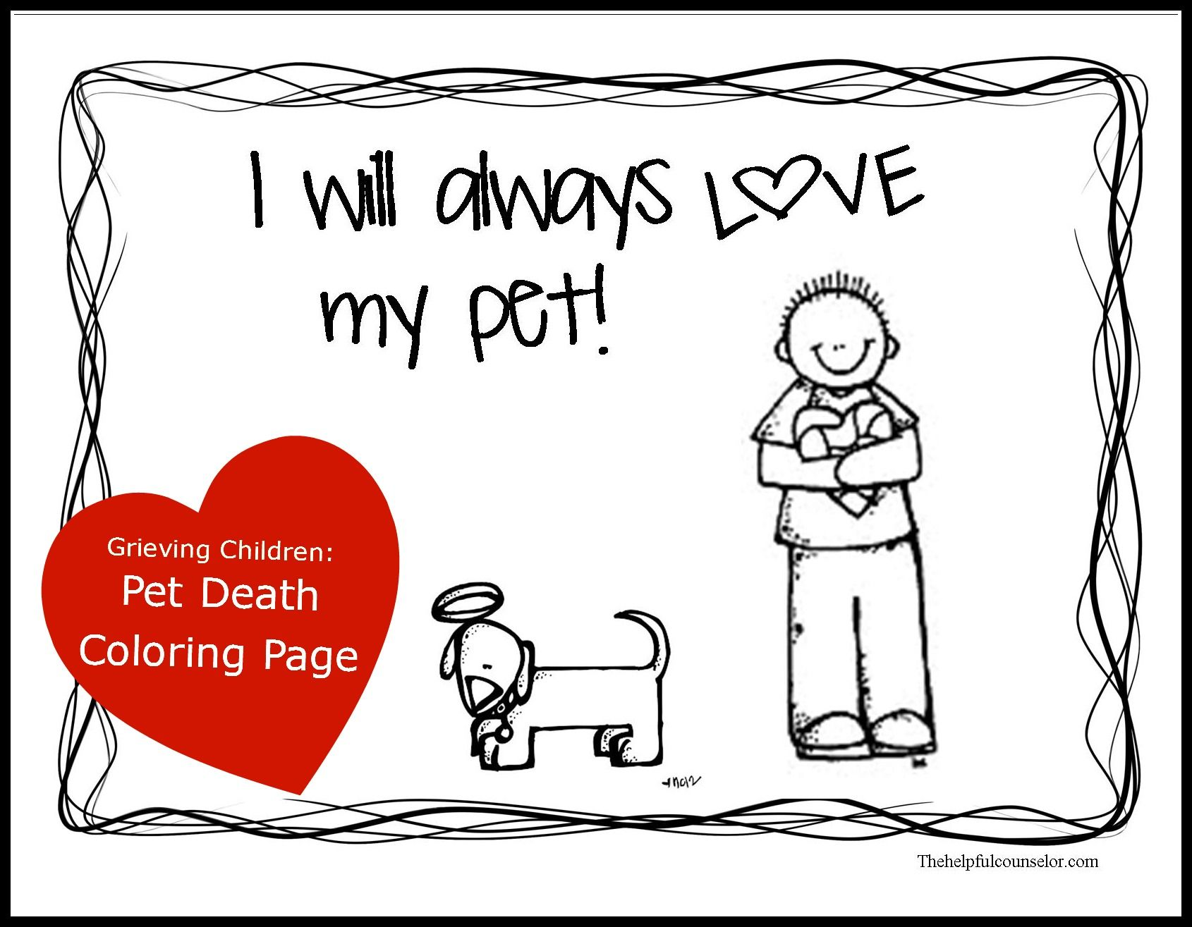 Dealing with grief grieving child pet death activity for Beatrice doesn t want to coloring page