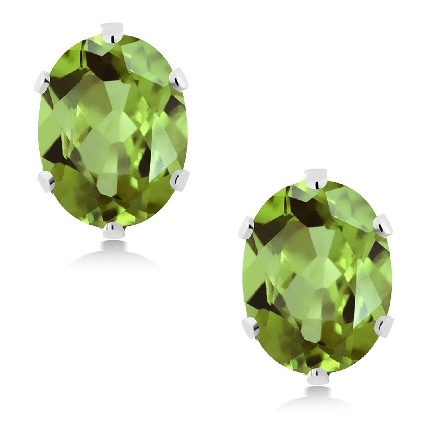 Gem Stone King 2.60 Ct Oval 8x6mm White Topaz 18K Yellow Gold Plated Silver Stud Earrings