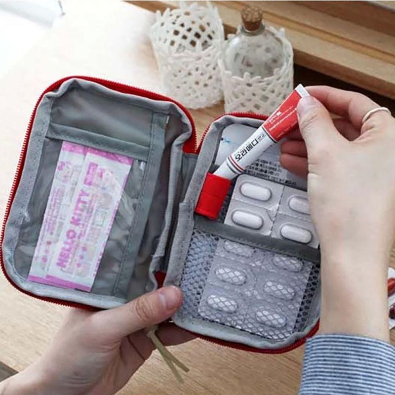 صغيرة الطب كيت سهلة حمل المنزل الطلق النجاة الطوارئ الطبية الإسعافات الأولية حقيبة التفاف جير حقيبة Medicine Kit First Aid Kit Box First Aid Kit Travel