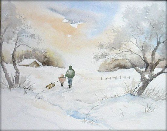 Winterfreuden – Aquarell / Watercolor – 24 x 32 cm – Bleistift-Landschaftszeichnung