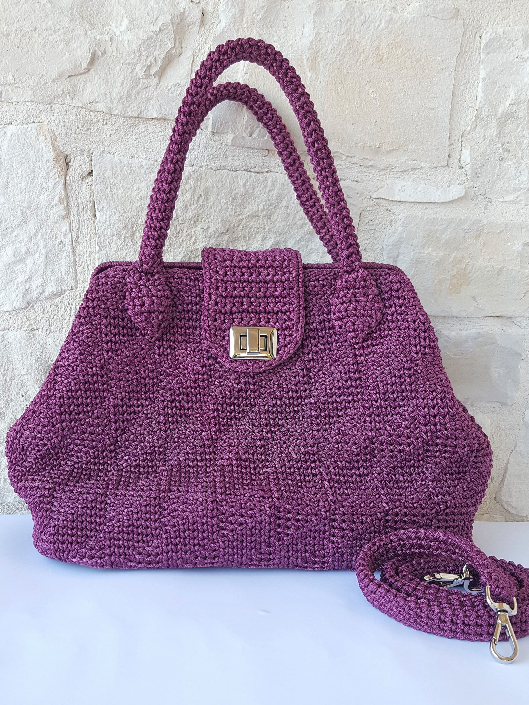 Fatto Marsala Cordino Uncinetto Accessorio Regalo Di In Italy Borsa Donna Mano Made A nqHw1zO