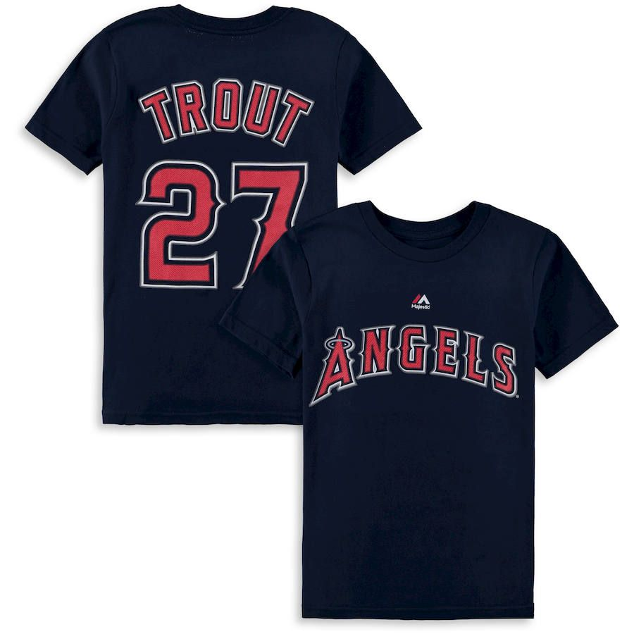 huge selection of 296a7 009eb Mike Trout Los Angeles Angels Majestic Youth Player Name   Number T-Shirt -  Red