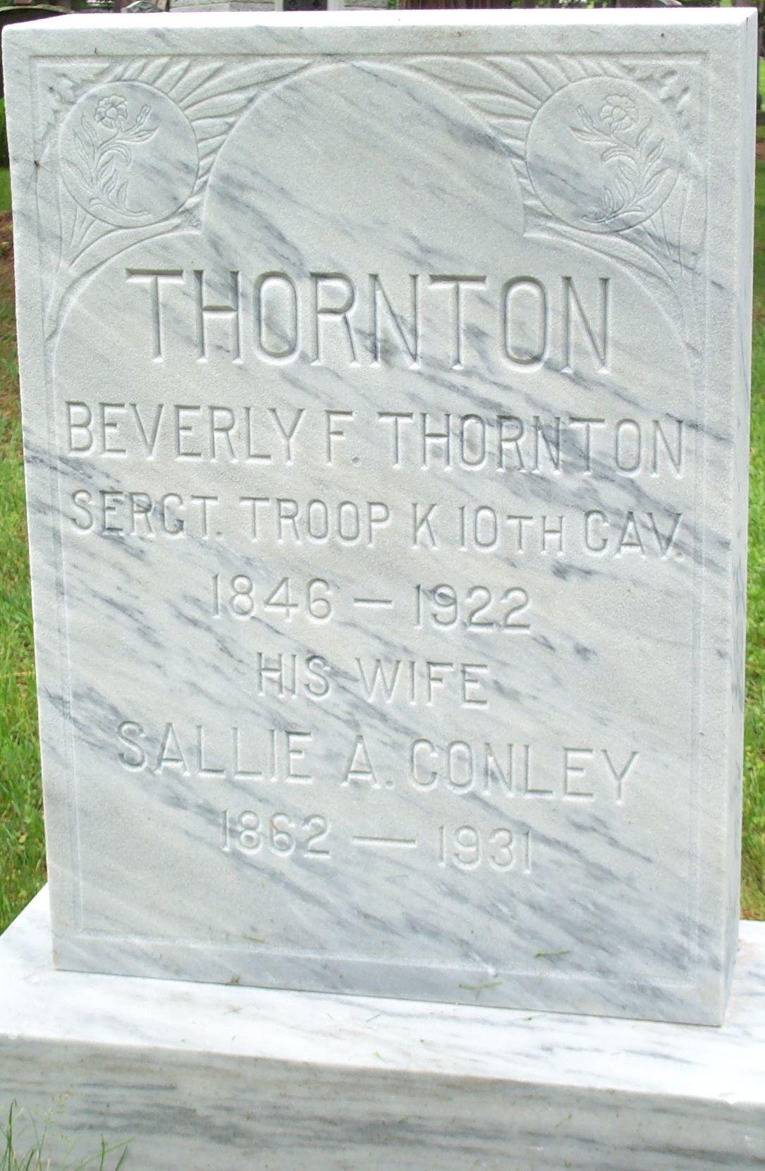 Tombstone for Beverly Thornton and Sallie Ann Conley Thornton in Burlington, Vermont.